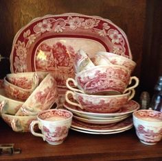 Red and white transfer ware