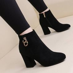 Pointed Toe Over Knee Hollow out Denim Lace-up Gladiator Boots Block Heel Ankle Boots, Black Suede Boots, Suede Ankle Boots, Black Boots With Heels, Black Heeled Boots Outfit, High Heeled Ankle Boots, Boot Heels, Black High Heels, Leather Sandals