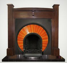 Antique Oak Art Deco Mantel Fireplace Surround #artdecointeriors