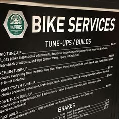 This In-Store Bike Services Menu Signage suggests you keep your old bike tuned-up even if you are considering purchase of a new one in the department. Brake Inspection, Menu Signage, Bicycle Store, Pro Bike, Bicycles, Passport, Retail, Bike Store, Bike