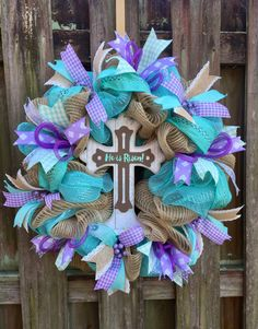 A personal favorite from my Etsy shop https://www.etsy.com/listing/519431963/he-is-risen-wreath-easter-wreath-cross