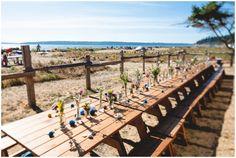 rustic wedding decor - picnic tables and miminal centerpiece arrangements // photo by Lucas Mobley