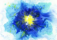 Blue and Yellow #watercolor_flower #OHGUSHI #illustration #水彩 #particles_粒子