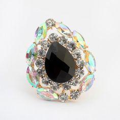 Homecoming black gemstone decorated waterdrop shape design alloy Korean Rings http://earrings.asumall.com/