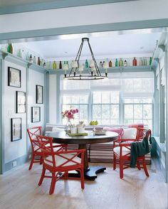 51 Display Ideas for Your Collections - love the crown molding/shelving at the ceiling