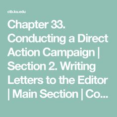 Chapter 33. Conducting a Direct Action Campaign   Section 2. Writing Letters to the Editor   Main Section   Community Tool Box