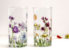 Glass Tumblers Set of 2 Astrantia Design