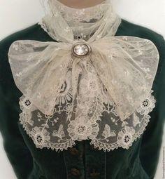 Купить Старинный кружевной шарф Schiffli. - кремовый оттенок, шиффли, антикварное кружево, кружевной шарф