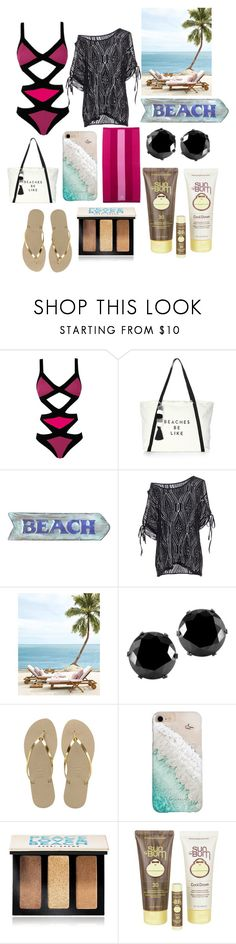 """""""Swimsuit chic"""" by tanvibhatia1 ❤ liked on Polyvore featuring Agent Provocateur, Milly, West Coast Jewelry, Havaianas, Gray Malin, Bobbi Brown Cosmetics, Sun Bum and Lands' End"""