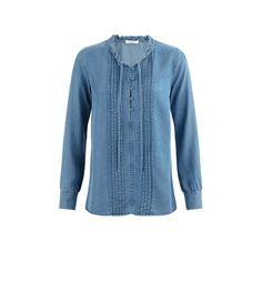 Jeansowa koszula damska jasny jeans - Promod