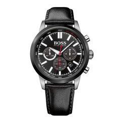 Chronograph Black Dial With Black Leather Strap Men's Watch