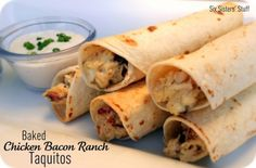Baked Chicken Ranch Taquitos. I like the idea but cut down on the shredded cheese and I would use corn tortillas to cut points.