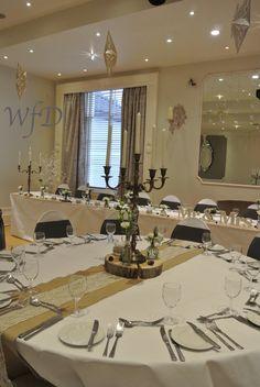Brushed gold candelabra, winter wedding at the Royal seven stars Totnes Devon