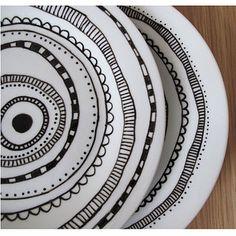 Hand-drawn plates, Edwina Simone