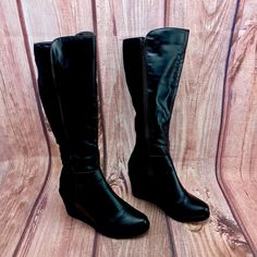 b54482fe47d Womans girls Boots Next half Suede half Leather Zip Up Knee High wedge size  5