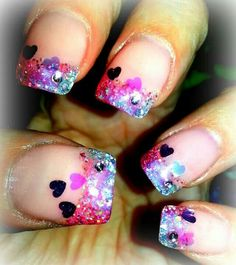 Gel nails. Valentine nail design.
