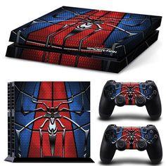 PS4 Playstation 4 Console Skin Decal Sticker SpiderMan Hero Custom Design Set #ZoomHit