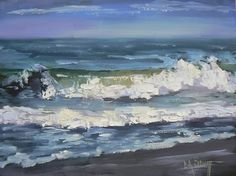 """Seascape Artists International: Daily Painting, """"Waves"""", Seascape, 6x8"""", Oil, SOLD"""