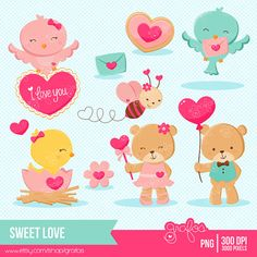 SWEET LOVE 1 Digital Clipart , Happy Valentine,s Day Clipart, Animals ClipArt / Instant Download on Etsy, $68.40