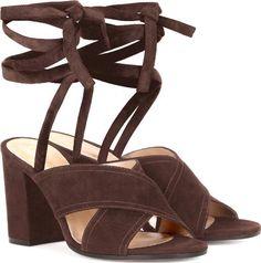 Alia Suede Sandals. Alia Dark Brown Suede Sandals By Gianvito Rossi#GianvitoRossi #Brown #suede #Sandals #Mytheresa #Women #fashion #obsessory #fashion #lifestyle #style #myobsession