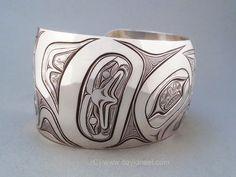 "A Northwest Native Eagle bracelet, sterling silver, 1.5"" x 6"" by David Neel, Kwakiutl  #nativeamericanart #kwakiutlart #haidaart www.davidneel.com"