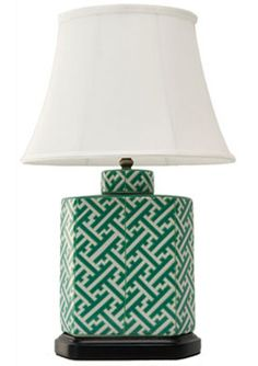 green + white porcelain lamp with silk shade + wood base :: {folly} #NMFallTrends