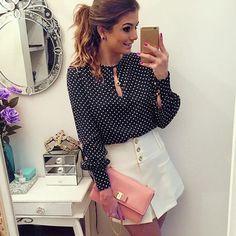 Women's Tops Casual O-Neck Long Sleeves Blouses Chiffon Polka Dots Shirt