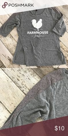 Farmhouse frocks top Gray top with 3/4 sleeves. The sleeves have a lace detail all the way down from neck on the top. Great fun top, super soft. Size shows XXL but fits as an XL Tops Blouses