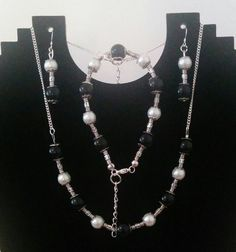 Black & White Jewellery Set £10.99 Jewelry Sets, Pearl Necklace, Jewellery, Pearls, Black And White, Amp, String Of Pearls, Jewels, Black N White