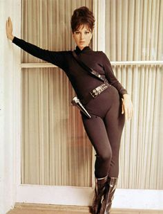 Modesty Blaise was part of the new wave of Sixties female action heroines and worth seeking out if you like your style icons of the high-kicking variety. Reservoir Dogs, Fritz Lang, Leder Outfits, Emma Peel, Sexy Women, Bond Girls, Italian Actress, The Avengers, Iconic Movies