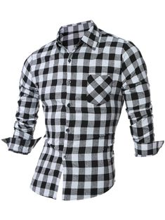 Long Sleeve Breast Pocket Button Up Plaid Shirt ce5de7563e