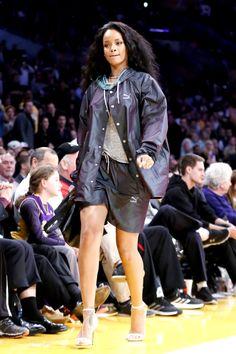 Rihanna at a basketball game in LA.