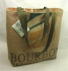 Upcycled Coffee Burlap Sack MARKET TOTE BAG by ItsOurEarth on Etsy