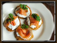 Potato pancakes with herb cream and smoked salmon by Krolewskie Jadlo in Queens, NY   Click to order online