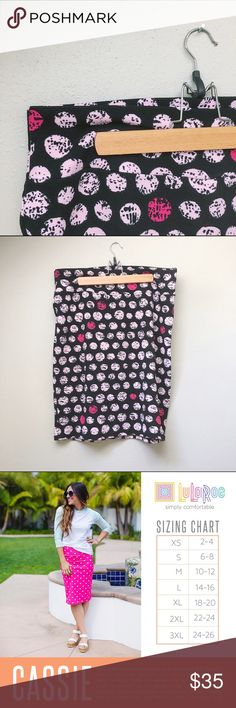 "LuLaRoe Cassie Skirt New without tag's LuLaRoe Cassie skirt. LuLaRoe's Cassie skirt is a classic pencil skirt with a comfy twist. This skirt has a black background with pale pink and hot pink ""hand-stamped"" polka dots. LuLaRoe Skirts Pencil"