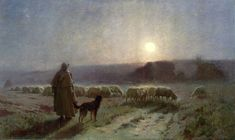"""Charles Sprague Pearce: """"Evening"""", circa 1885,  oil on canvas, Height: 104.1 cm (40.98 in.), Width: 175.9 cm (69.25 in.),  Terra Foundation for American Art  (United States - Chicago)."""