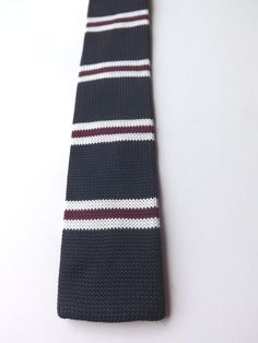 Vintage Repro NEXT SKINNY KNITTED NECK TIE Dark Blue with Stripes MOD  FREE P&P #Primark #NeckTie