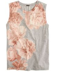 J.Crew Photo Floral Tank Top (66 CAD) ❤ liked on Polyvore featuring tops, shirts, tank tops, tanks, loose fitting tank tops, summer tanks, j crew shirts, floral tank top and cotton tank tops