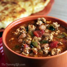 Quick & Healthy Turkey Chili-- 30 minutes start to finish, basic easy ingredients, and 256 calories & 4g fiber per 1 cup serving!