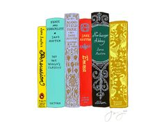 """Jane Mount is an artist who does """"Ideal Bookshelf"""" prints on archival paper. This one is perfect for me, a Jane Austen lover. You can even order custom works of art featuring your ideal bookshelf! Genius!"""
