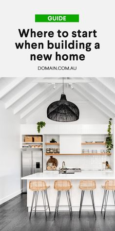 Where to start when building a new home - Building a house can be a daunting proposition, but it& also an exciting journey. Boho Kitchen, Basic Kitchen, Kitchen Island Bench, Decorating A New Home, Farm House Colors, Home Fireplace, Building A New Home, Cottage Interiors, Finding A House