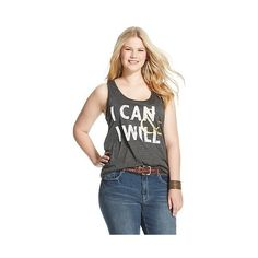 Plus Size I Can & I Will Graphic Tank ($13) ❤ liked on Polyvore featuring plus size fashion, plus size clothing, plus size tops, charcoal grey, plus size and fifth sun