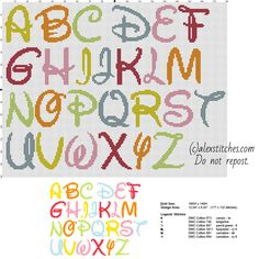 Disney colored font letters cross stitch free alphabet - free cross stitch patterns by Alex