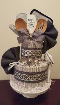 Kitchen towel cake, bridal shower centerpiece gift, grey & silver, happily ever … – Cute and Trend Towel Models Bridal Shower Gifts For Bride, Bridal Shower Rustic, Bridal Gifts, Kitchen Towel Cakes, Kitchen Towels, Wedding Towel Cakes, Baby Shower Gift Basket, Bridal Shower Centerpieces, Shower Cakes