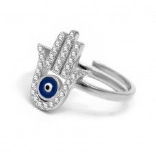 Silver Hamsa Hand Ring with Evil Eye