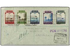 COLONIAS ESPAÑOLAS: IFNI. Ed.28/32. 1947. IFNI a MADRID. 5, 25, 50 cts. y 1 pta. y 1,40 pts.  Dealer SOLER Y LLACH  Auction Starting Price: ...