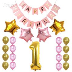 1st Happy Birthday Foil AGE Number Balloon First Baby Shower Party Hanging Decor