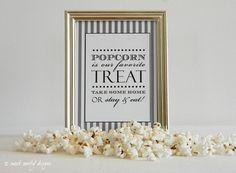 Reception Print Popcorn Bar // Popcorn Treat Sign by sweetsanity Popcorn Gift, Popcorn Bar, Wedding Signs, Our Wedding, Wedding Ideas, Wedding Bells, 70th Birthday Parties, Birthday Ideas, Reception Party
