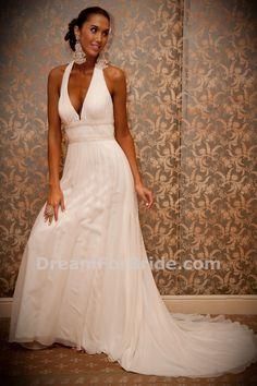 Chiffon Halter Deep V-neck A-line Wedding Dress