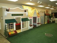 Unique Basement Kids Playroom with Small Decorative Home Town
